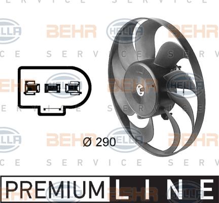 Ventilateur de condenseur BEHR HELLA SERVICE 8EW 009 144-601 (X1)