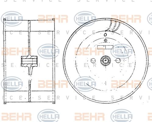 Roue de ventilateur de chauffage BEHR HELLA SERVICE 8EW 009 160-131 (X1)