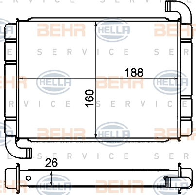 Radiateur de chauffage BEHR HELLA SERVICE 8FH 351 000-571 (X1)