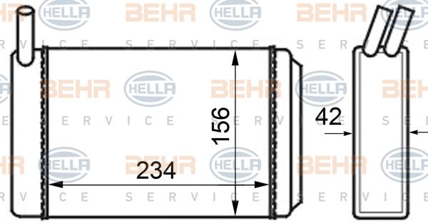 Radiateur de chauffage BEHR HELLA SERVICE 8FH 351 024-211 (X1)