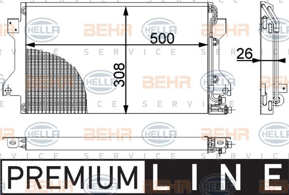 Condenseur / Radiateur de climatisation BEHR HELLA SERVICE 8FC 351 038-381 (X1)