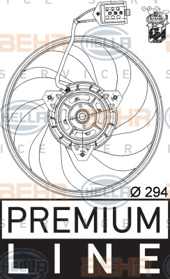 Ventilateur de condenseur BEHR HELLA SERVICE 8EW 351 039-691 (X1)