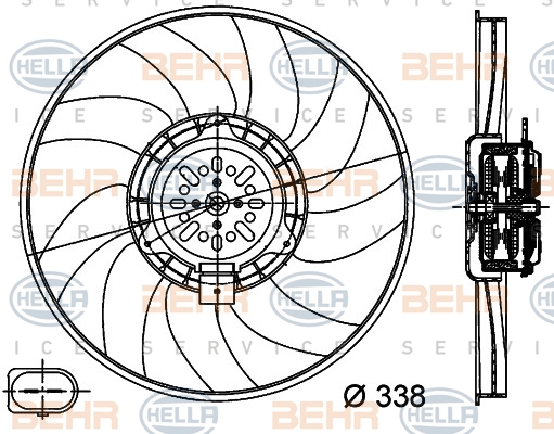 Ventilateur de radiateur BEHR HELLA SERVICE 8EW 351 044-361 (X1)
