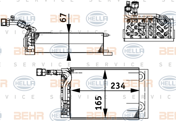 Evaporateur BEHR HELLA SERVICE 8FV 351 211-221 (X1)