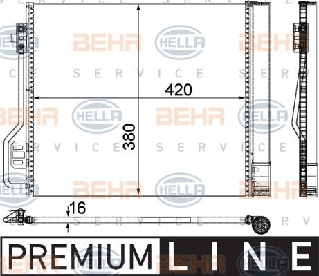 Condenseur / Radiateur de climatisation BEHR HELLA SERVICE 8FC 351 304-291 (X1)