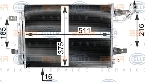 Condenseur / Radiateur de climatisation BEHR HELLA SERVICE 8FC 351 304-764 (X1)