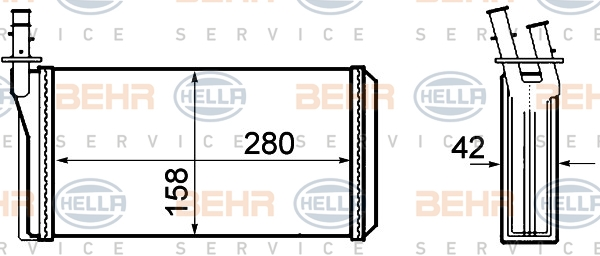 Radiateur de chauffage BEHR HELLA SERVICE 8FH 351 308-401 (X1)