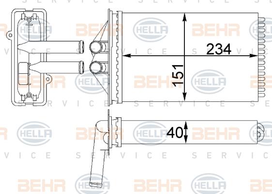 Radiateur de chauffage BEHR HELLA SERVICE 8FH 351 311-414 (X1)