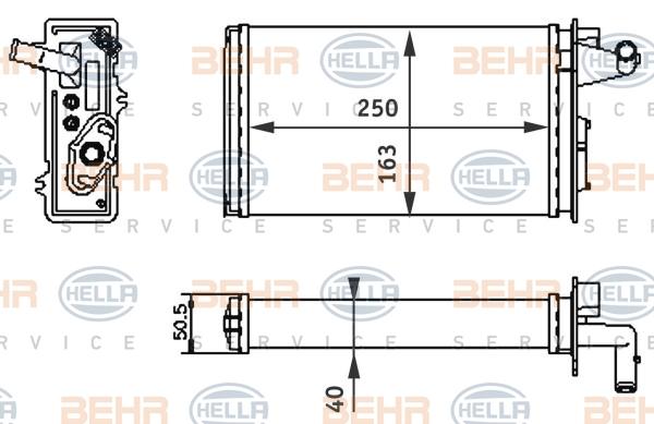 Radiateur de chauffage BEHR HELLA SERVICE 8FH 351 313-041 (X1)