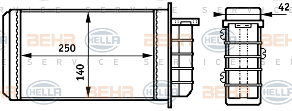 Radiateur de chauffage BEHR HELLA SERVICE 8FH 351 313-191 (X1)