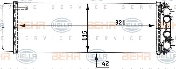 Radiateur de chauffage BEHR HELLA SERVICE 8FH 351 313-491 (X1)