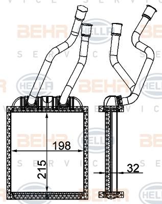 Radiateur de chauffage BEHR HELLA SERVICE 8FH 351 315-354 (X1)