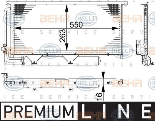 Condenseur / Radiateur de climatisation BEHR HELLA SERVICE 8FC 351 317-511 (X1)