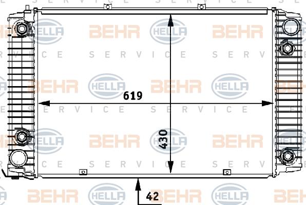 Radiateur de refroidissement BEHR HELLA SERVICE 8MK 376 710-721 (X1)