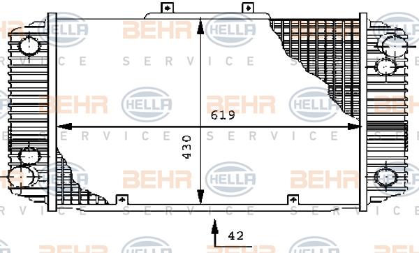 Radiateur de refroidissement BEHR HELLA SERVICE 8MK 376 710-731 (X1)