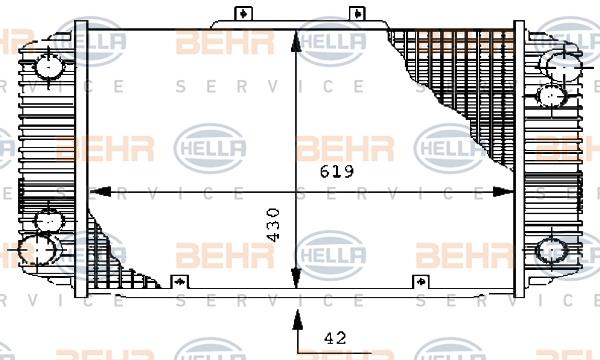 Radiateur de refroidissement BEHR HELLA SERVICE 8MK 376 711-551 (X1)