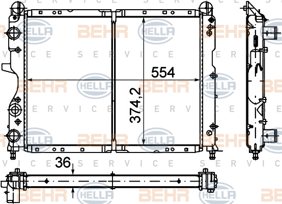 Radiateur de refroidissement BEHR HELLA SERVICE 8MK 376 716-151 (X1)