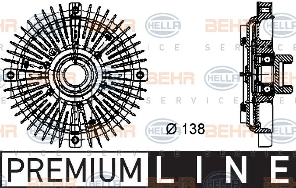 Embrayage de ventilateur refroidissement BEHR HELLA SERVICE 8MV 376 732-021 (X1)
