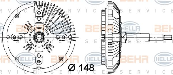 Embrayage de ventilateur refroidissement BEHR HELLA SERVICE 8MV 376 732-241 (X1)