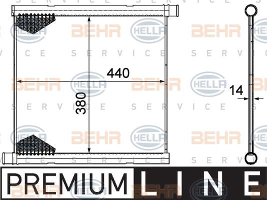Radiateur de refroidissement BEHR HELLA SERVICE 8MK 376 754-601 (X1)