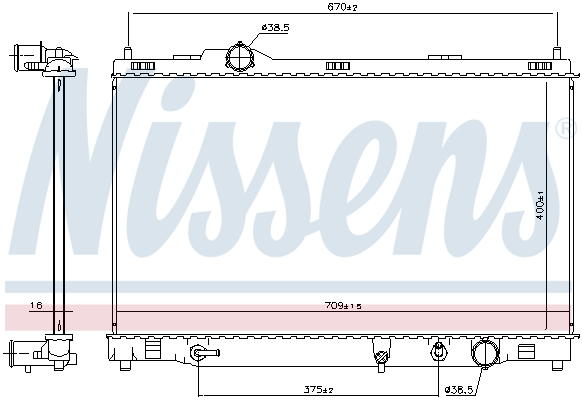 Radiateur de refroidissement NISSENS 606167 (X1)