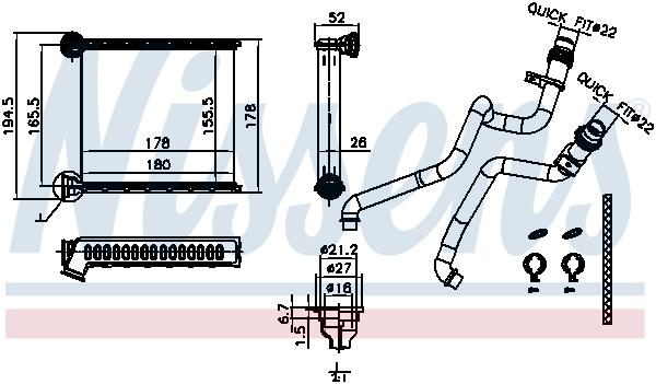 Radiateur de chauffage NISSENS 73942 (X1)