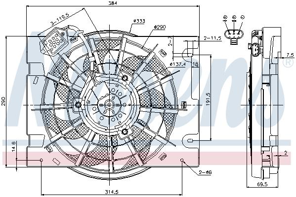 Ventilateur de radiateur NISSENS 85186 (X1)