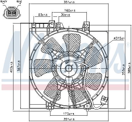 Ventilateur de condenseur NISSENS 85491 (X1)