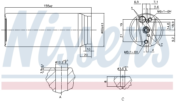 Bouteille deshydratante NISSENS 95063 (X1)