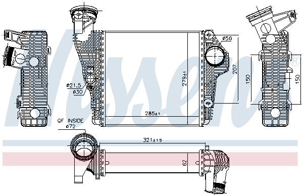 Intercooler radiateur de turbo NISSENS 961435 (X1)