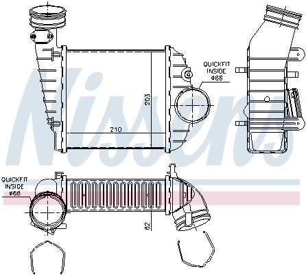 Intercooler radiateur de turbo NISSENS 96469 (X1)