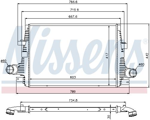Intercooler radiateur de turbo NISSENS 96644 (X1)