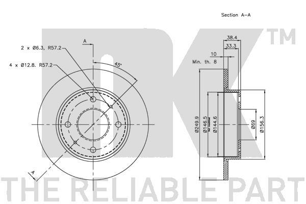 Disque de frein arriere Eurobrake 313036 (X1)