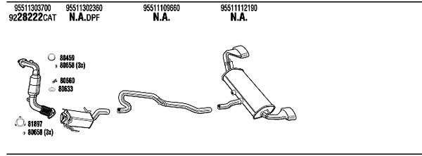 Echappement,Silencieux, catalyseur, intermédiaire WALKER POK030764 (X1)