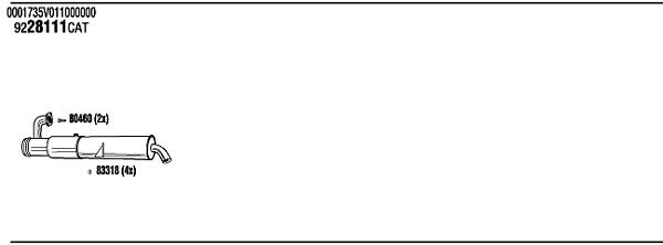 Silencieux, catalyseur, intermediaire WALKER SMH16616 (X1)