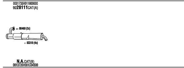 Silencieux, catalyseur, intermediaire WALKER SMK009339 (X1)