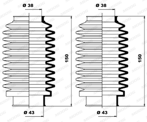 Joints soufflets direction - crémaillère MOOG K150003 (X1)