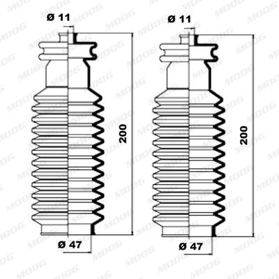 Joints soufflets direction - crémaillère MOOG K150017 (X1)