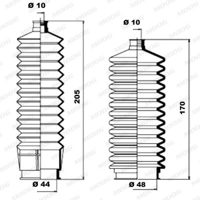 Joints soufflets direction - crémaillère MOOG K150026 (X1)