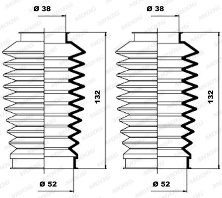 Joints soufflets direction - crémaillère MOOG K150100 (X1)