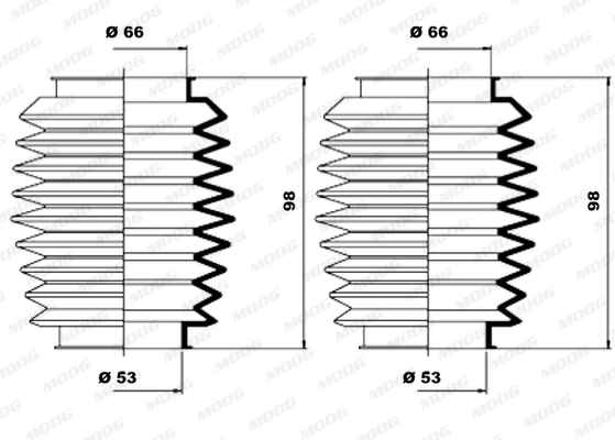 Joints soufflets direction - crémaillère MOOG K150137 (X1)