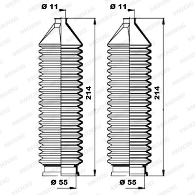 Joints soufflets direction - crémaillère MOOG K150167 (X1)