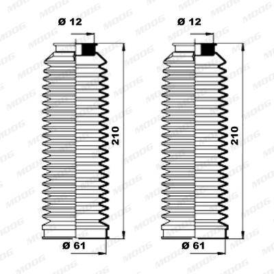 Joints soufflets direction - crémaillère MOOG K150181 (X1)