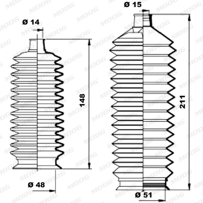 Joints soufflets direction - crémaillère MOOG K150190 (X1)
