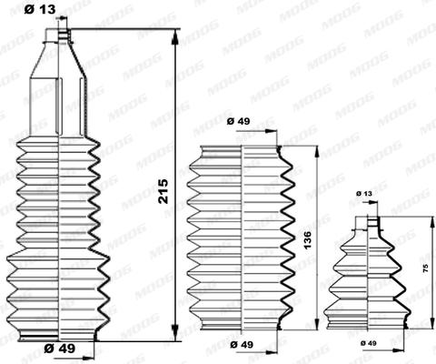 Joints soufflets direction - crémaillère MOOG K150214 (X1)