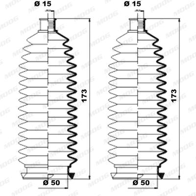 Joints soufflets direction - crémaillère MOOG K150226 (X1)
