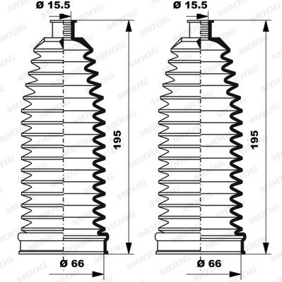 Joints soufflets direction - crémaillère MOOG K150237 (X1)