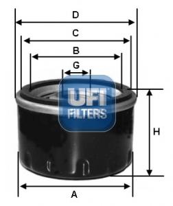 Filtre a huile UFI 23.255.00 (X1)