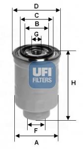 Filtre a carburant UFI 24.413.00 (X1)