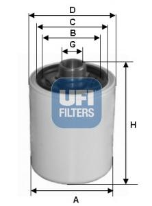Filtre a huile de circuit hydraulique UFI 80.029.00 (X1)